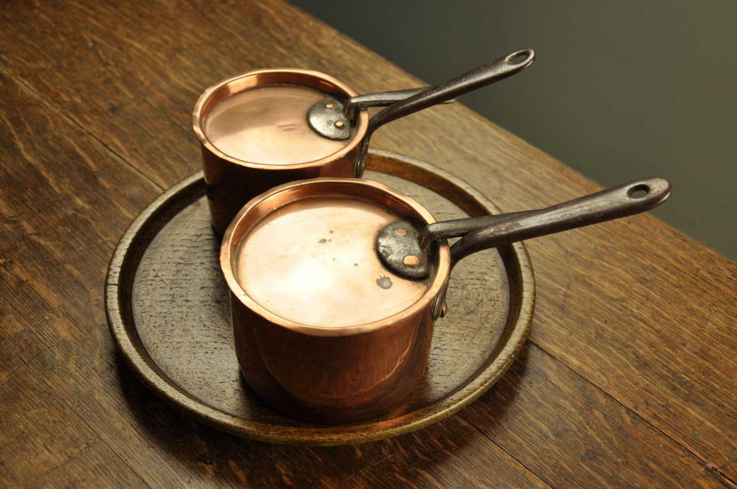 Two Irish Regency copper pans