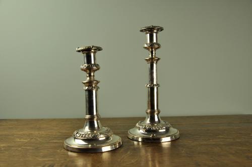Regency Sheffield Plate Telescopic Candlesticks