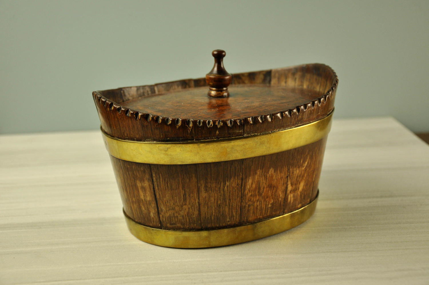 19th century coopered oak box