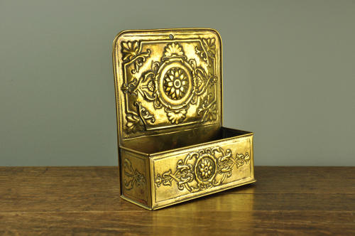 19th century brass wall pocket