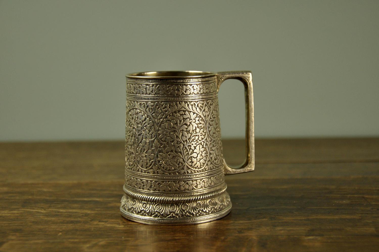 19th century Indian silver mug