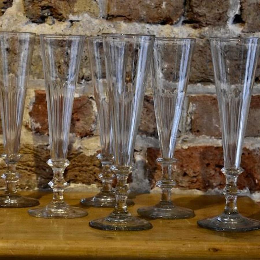 6 x 19th century Champagne Flutes