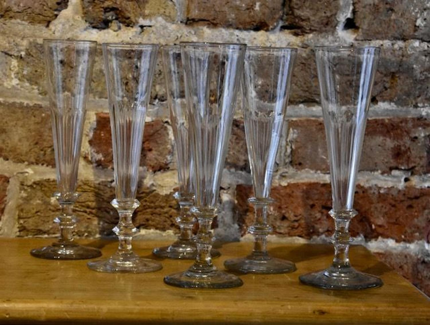 6 x 19th century Champagne Flutes