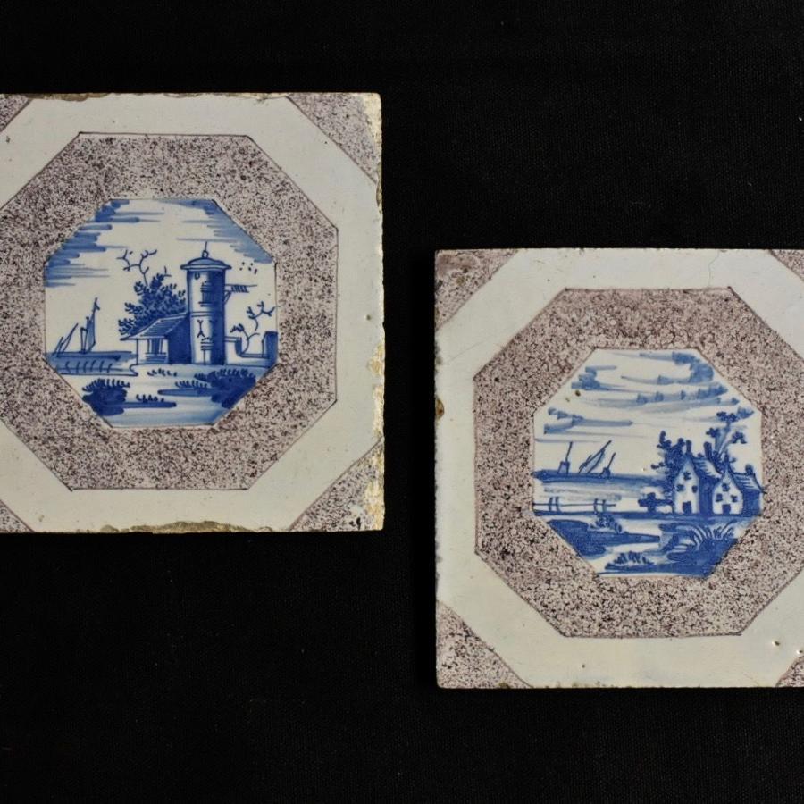 Pair of 18th c. Dutch Delft tiles