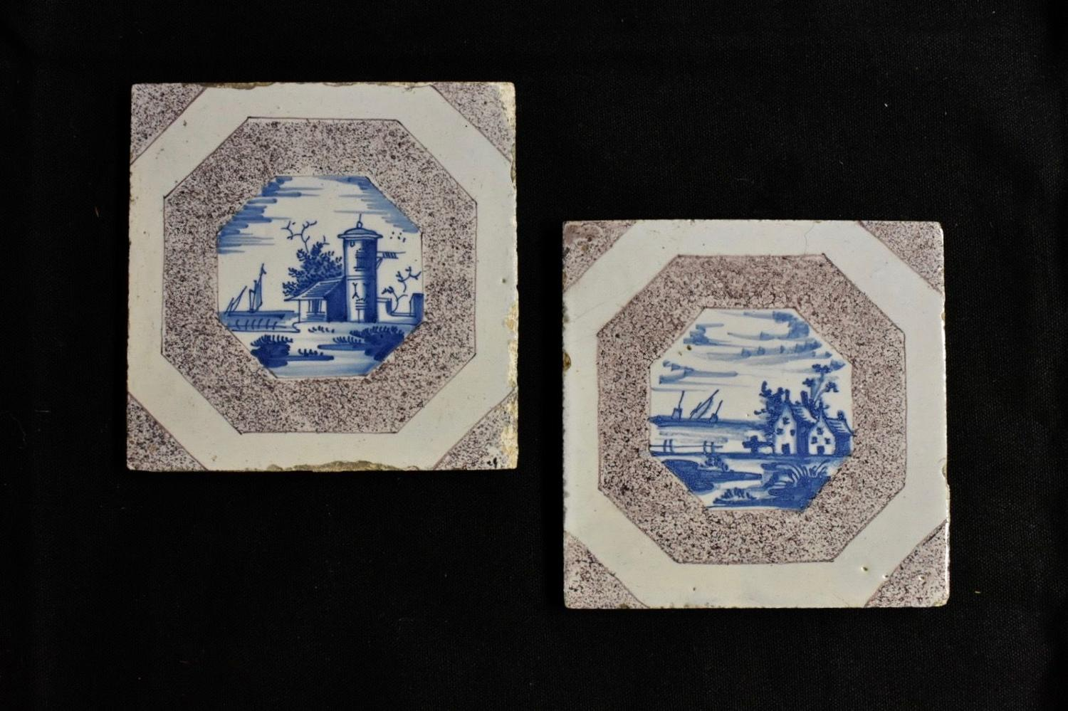 Pair of 18th c. Dutch Delft tiles