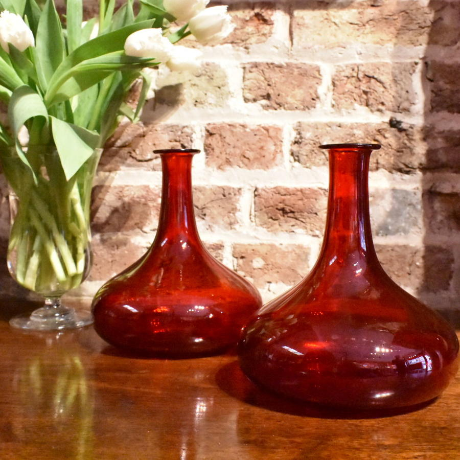 Rare pair of 19th century red glass ship's decanters