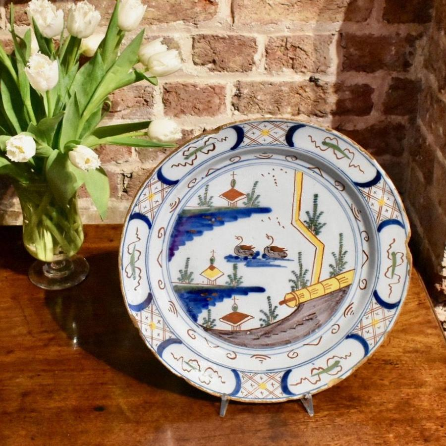 18th c. Dutch Delft Charger