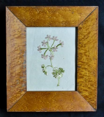 18th c. framed embroidered flower