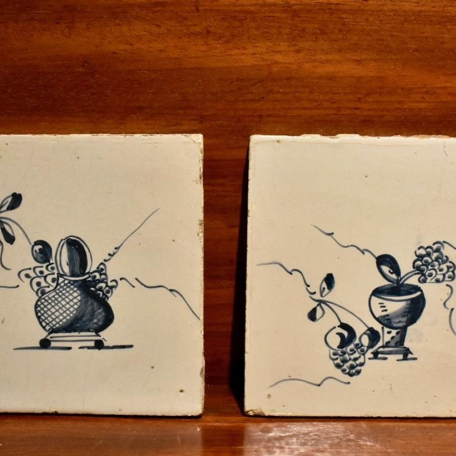 18th c pair of Dutch Delft tiles