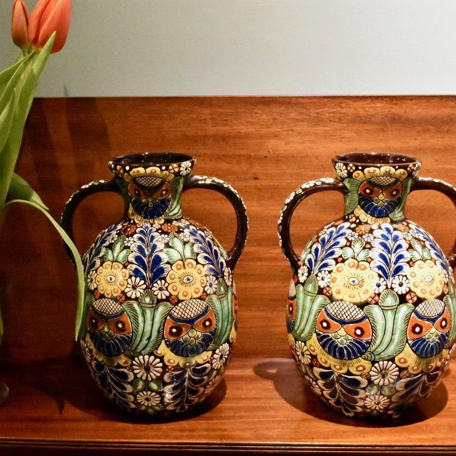 Pair of 19th c. Heimberg 'Art Pottery' vases
