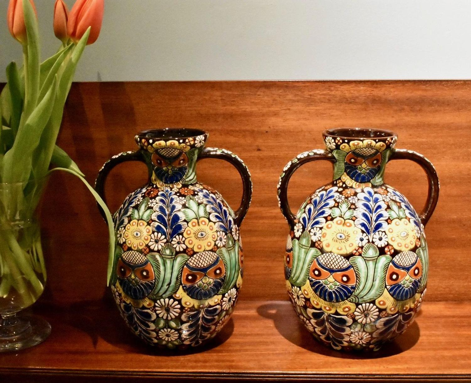 Pair of 19th c. Heimberg 'Art Pottery' vases