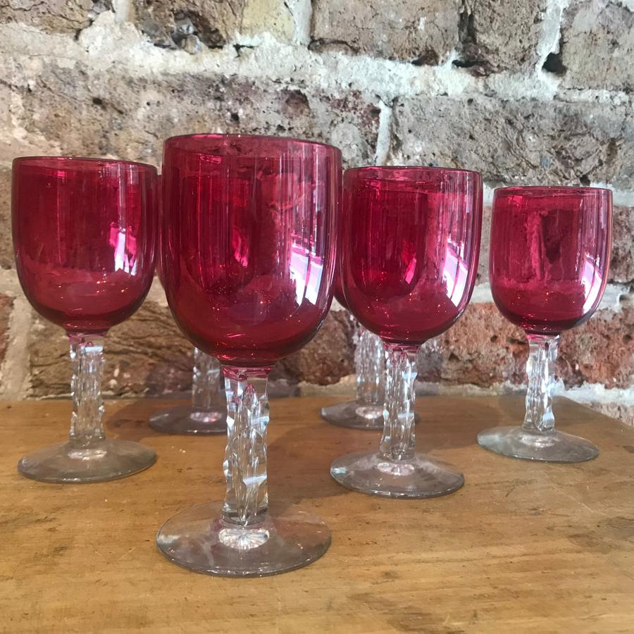 Set of Six 19th c. Cranberry Glasses