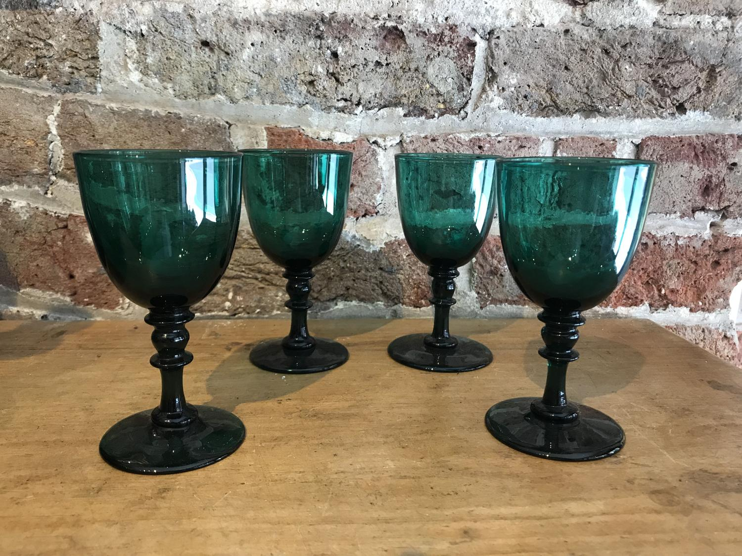 Set of 4 x 19th century 'Bristol Green' glasses
