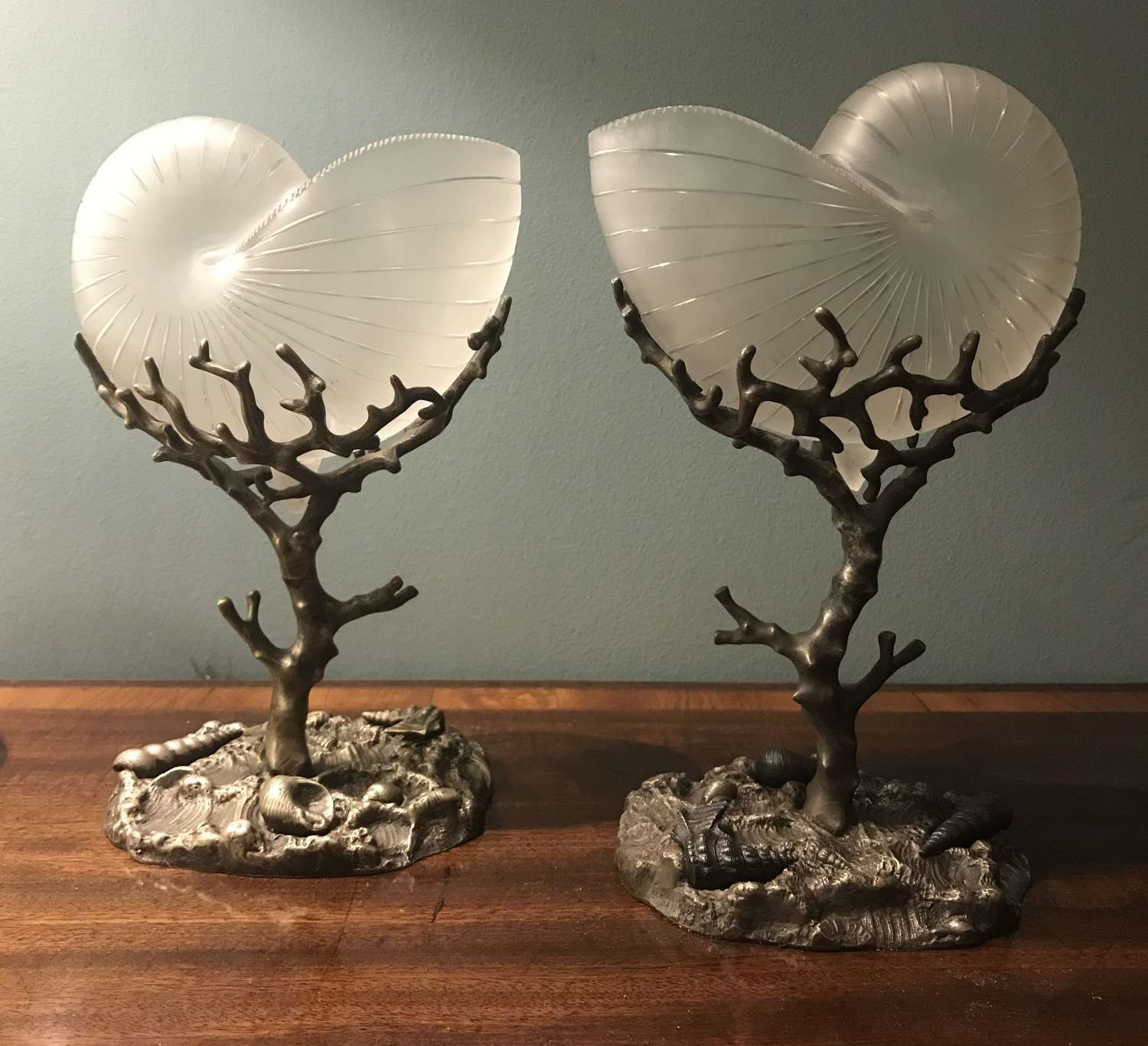 Pair of 19th century glass epergnes