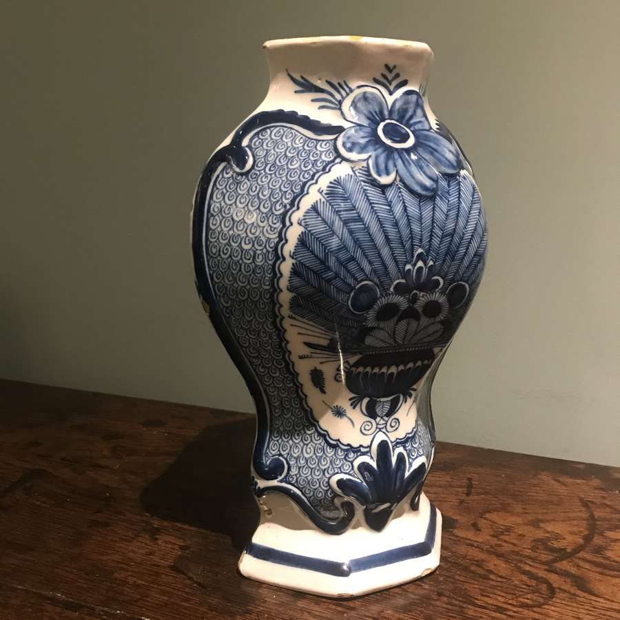 18th c. 'Peacock' pattern Dutch Delft vase