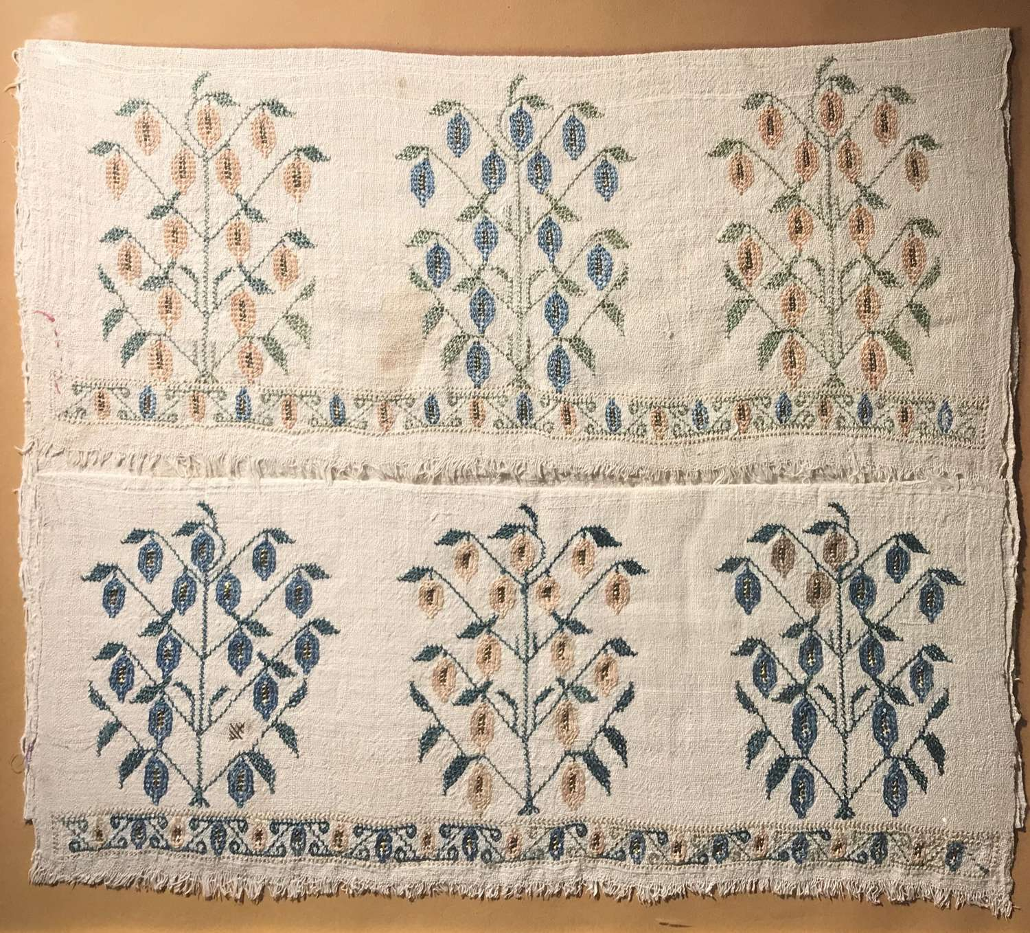 19th c. Ottoman embroidered linen towel
