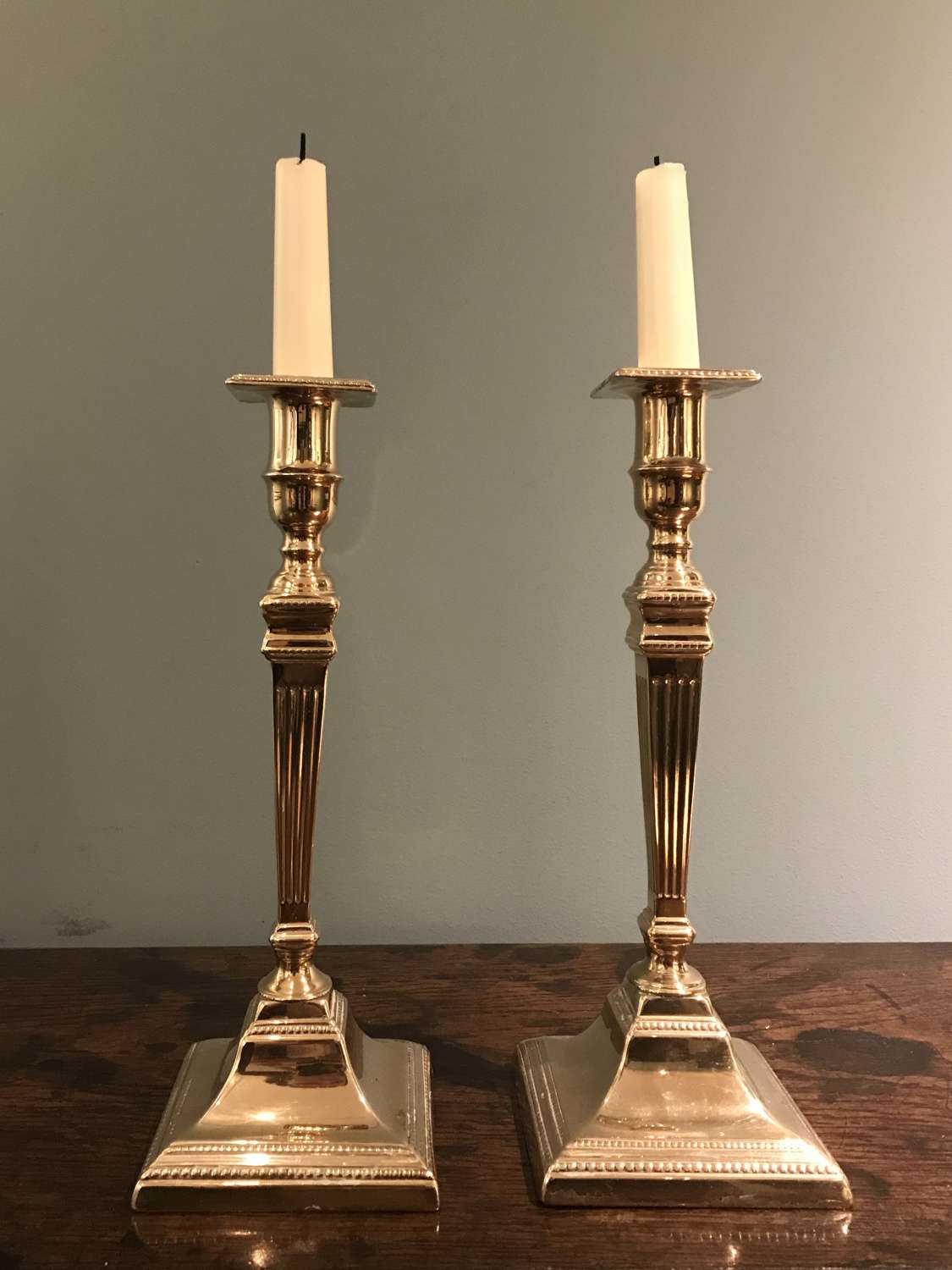 Pair of 18th c. brass candlesticks