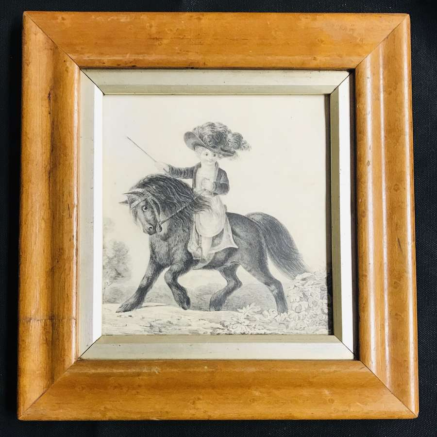 Regency pencil drawing - Boy on a pony