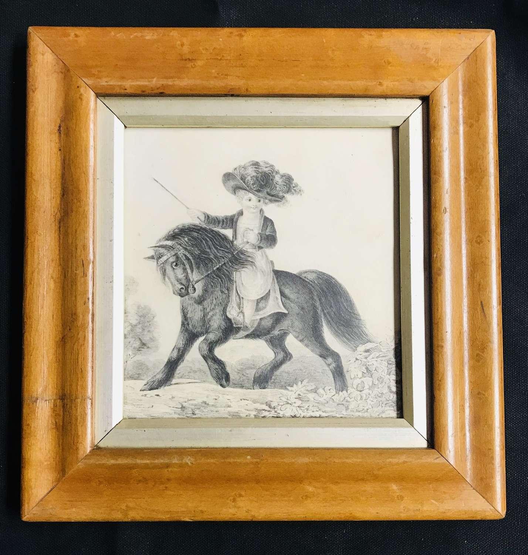 Regency pencil drawing - Boy on a pony