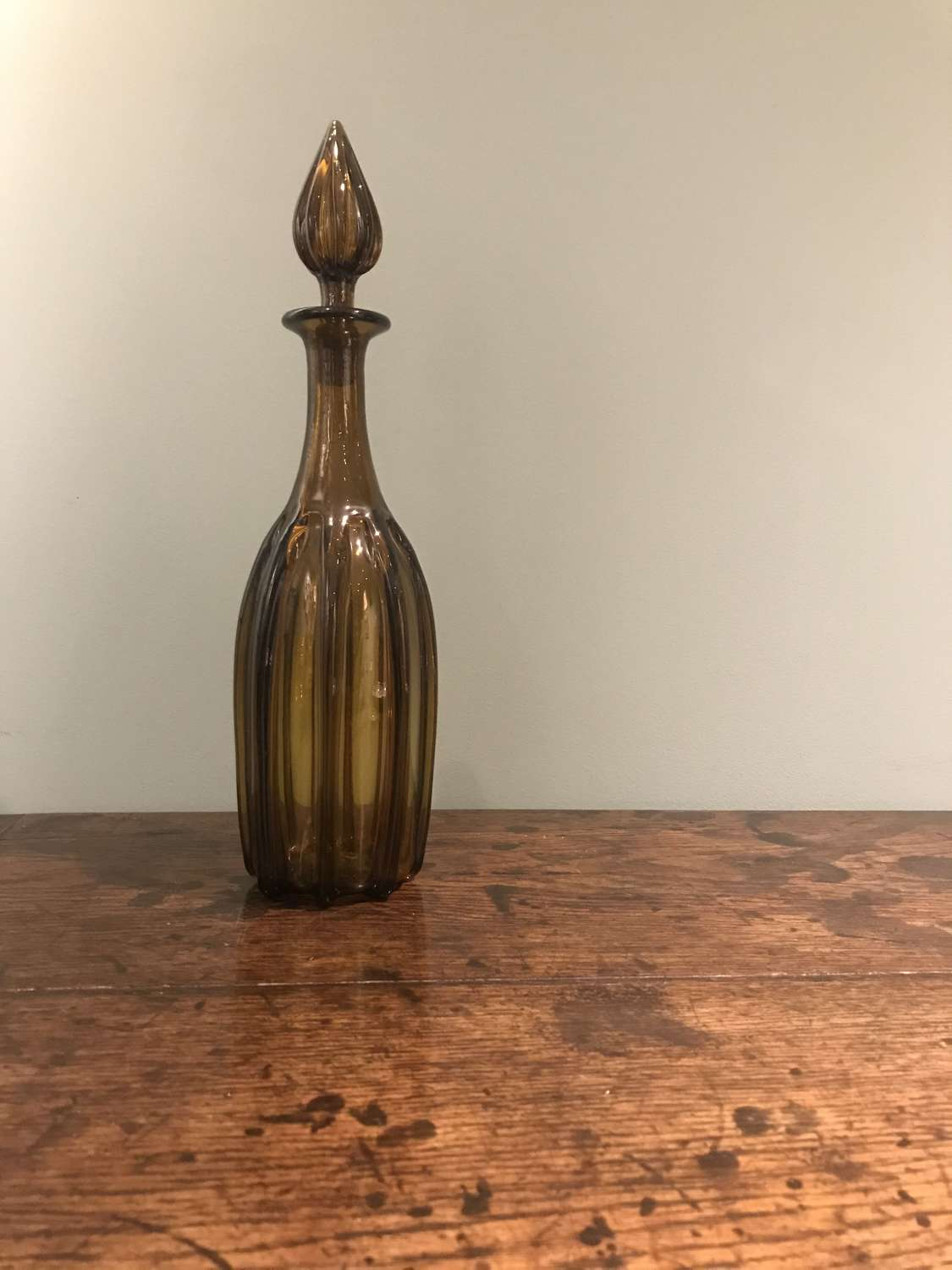 19th c Gothic revival amber decanter