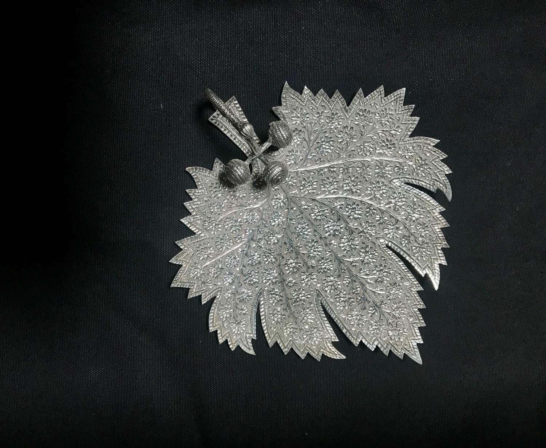 Kashmir silver sweetmeat dish
