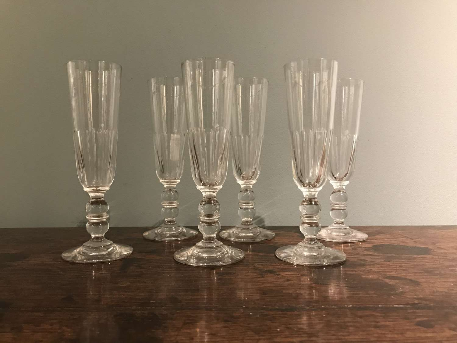 Set of 6 x 19th c. French champagne flutes