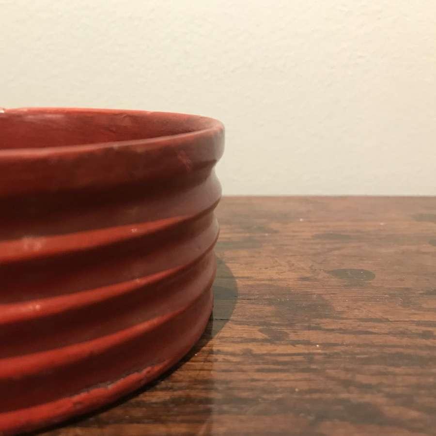 Regency red papier mâché coaster