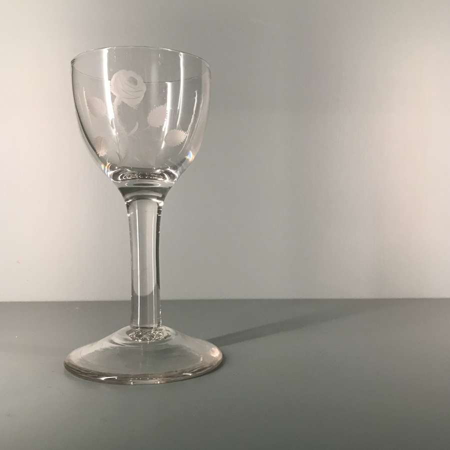18th c. wine glass engraved with rose