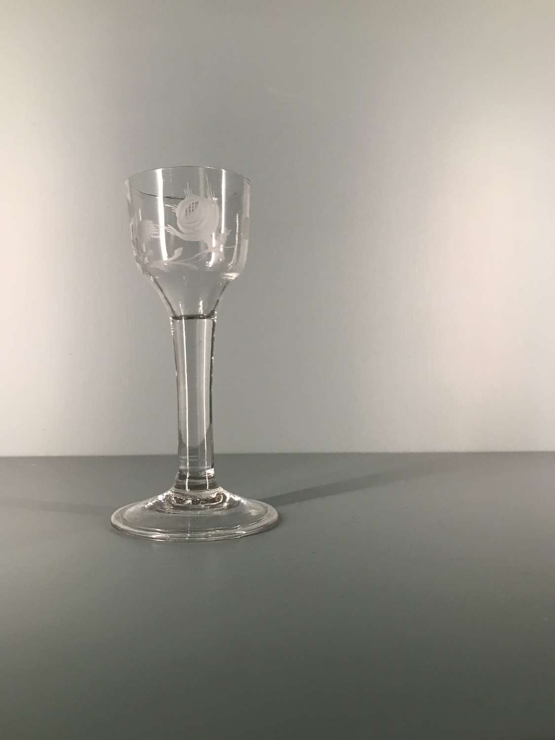 18th c. English engraved cordial glass