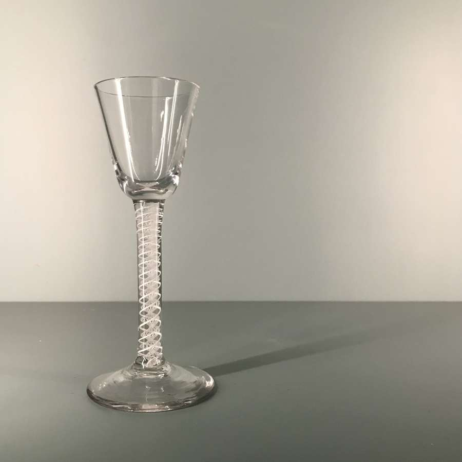 18th c. double series opaque twist cordial glass