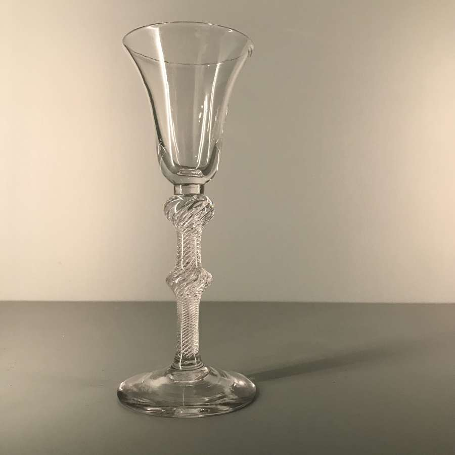 Mid 18th c. double knopped airtwist wine glass