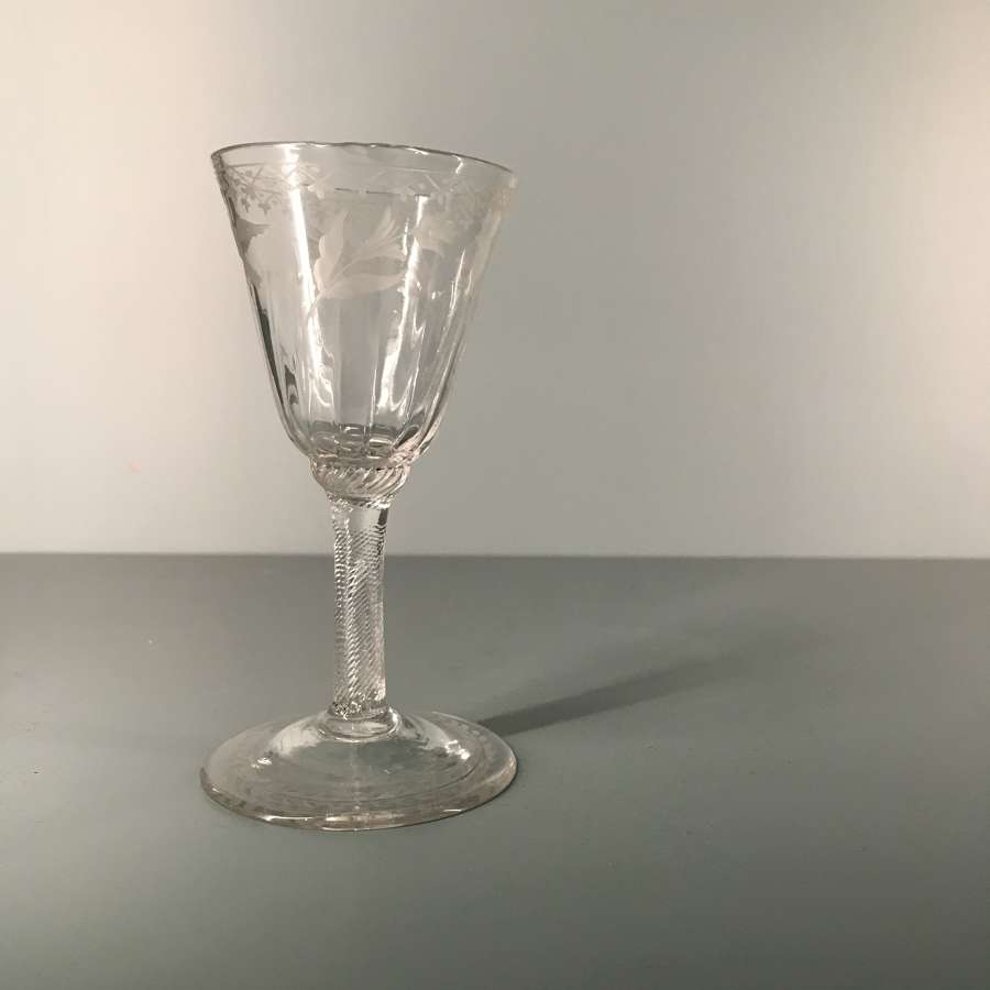 Mid 18th c. English engraved gin glass with incised twist