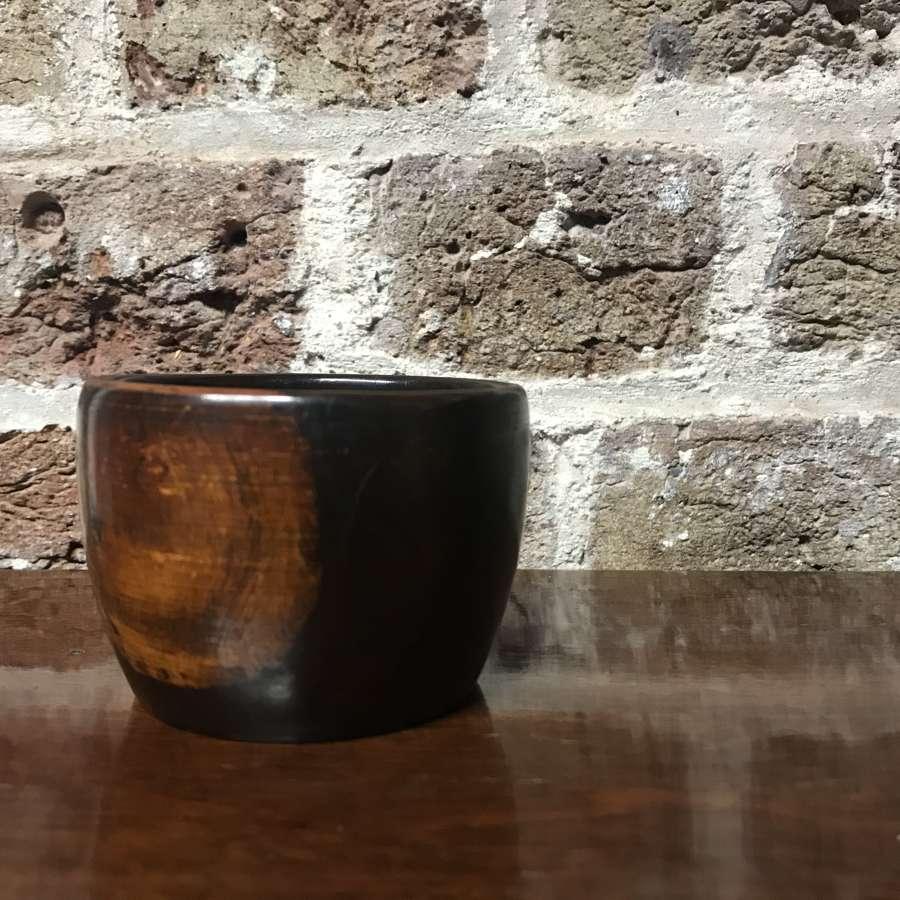19th c. lignum vitae wool bowl