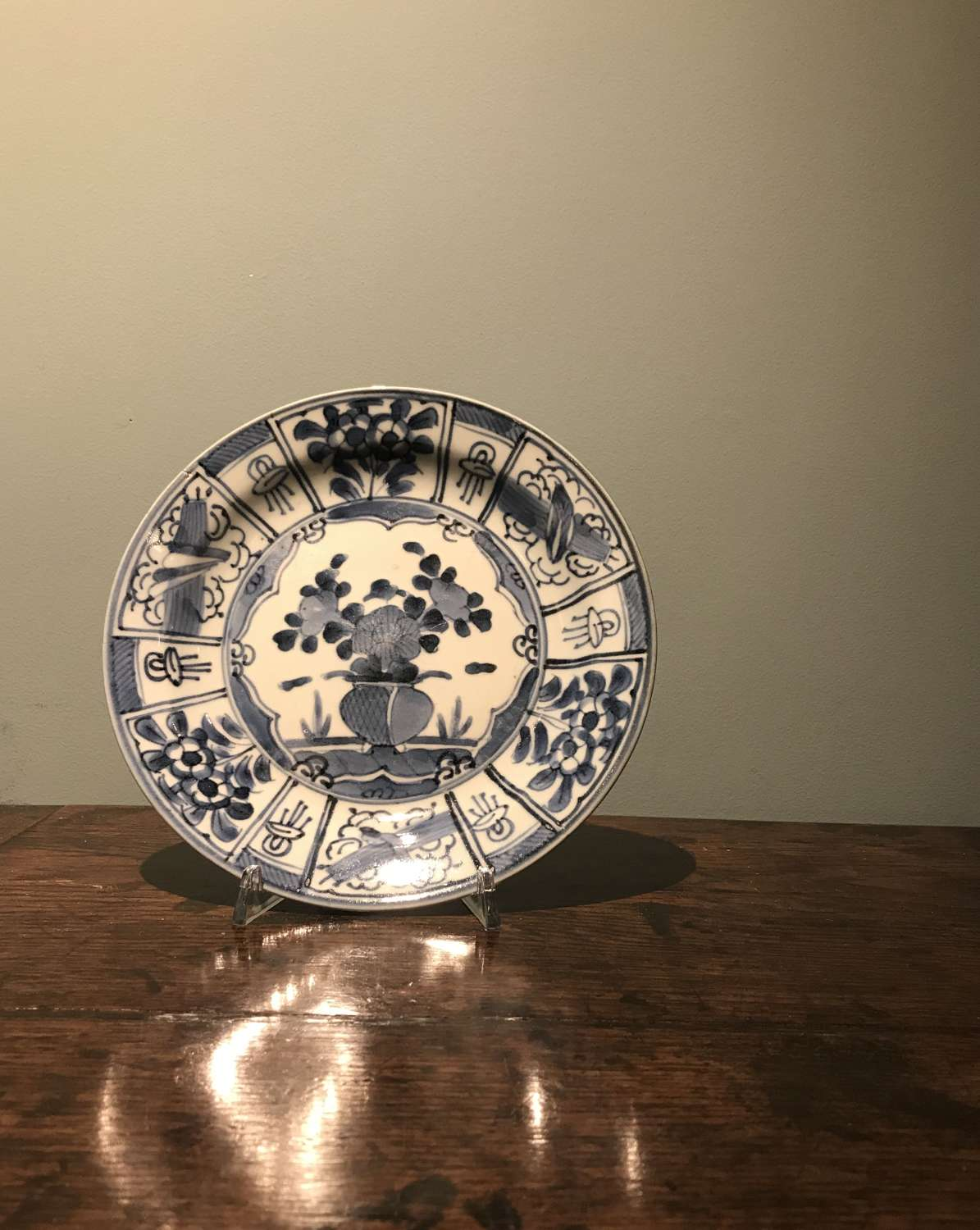 17th c. Genroku period blue and white plate in Kraak style c. 1680