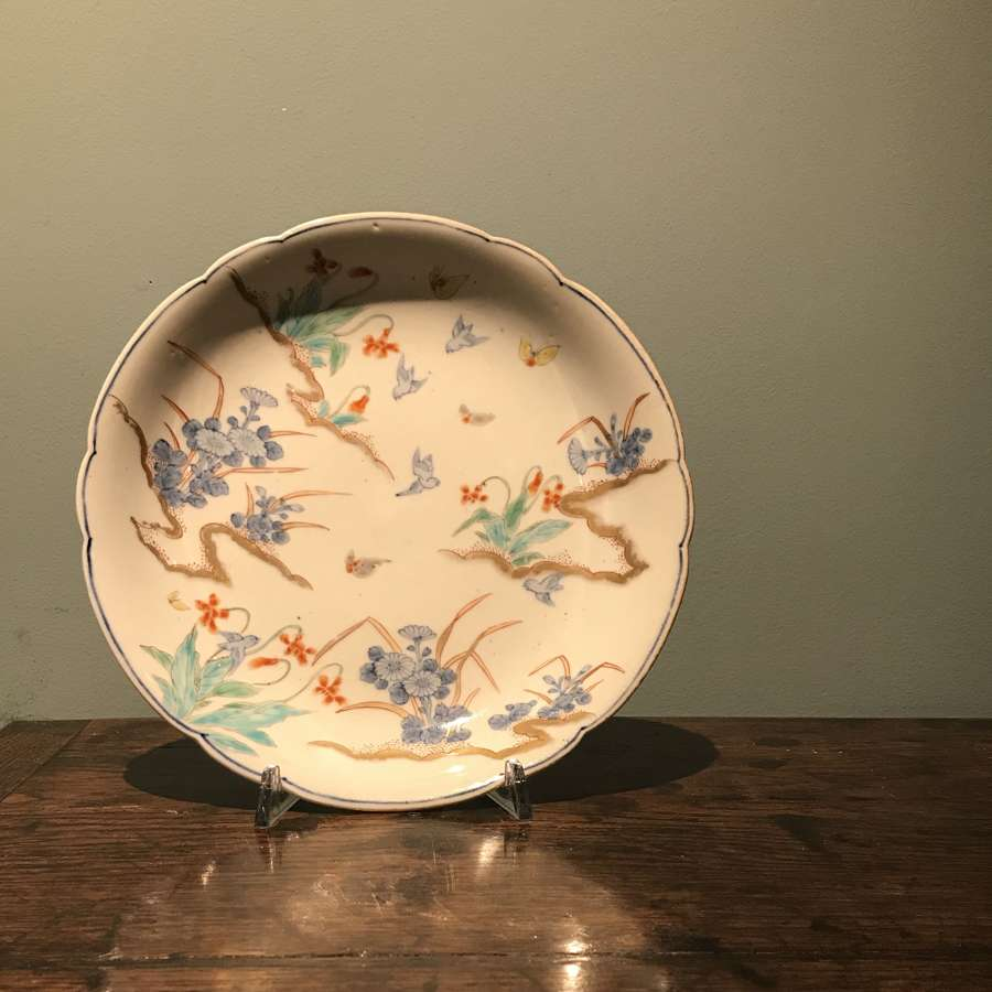 Meiji period Arita plate with butterflies