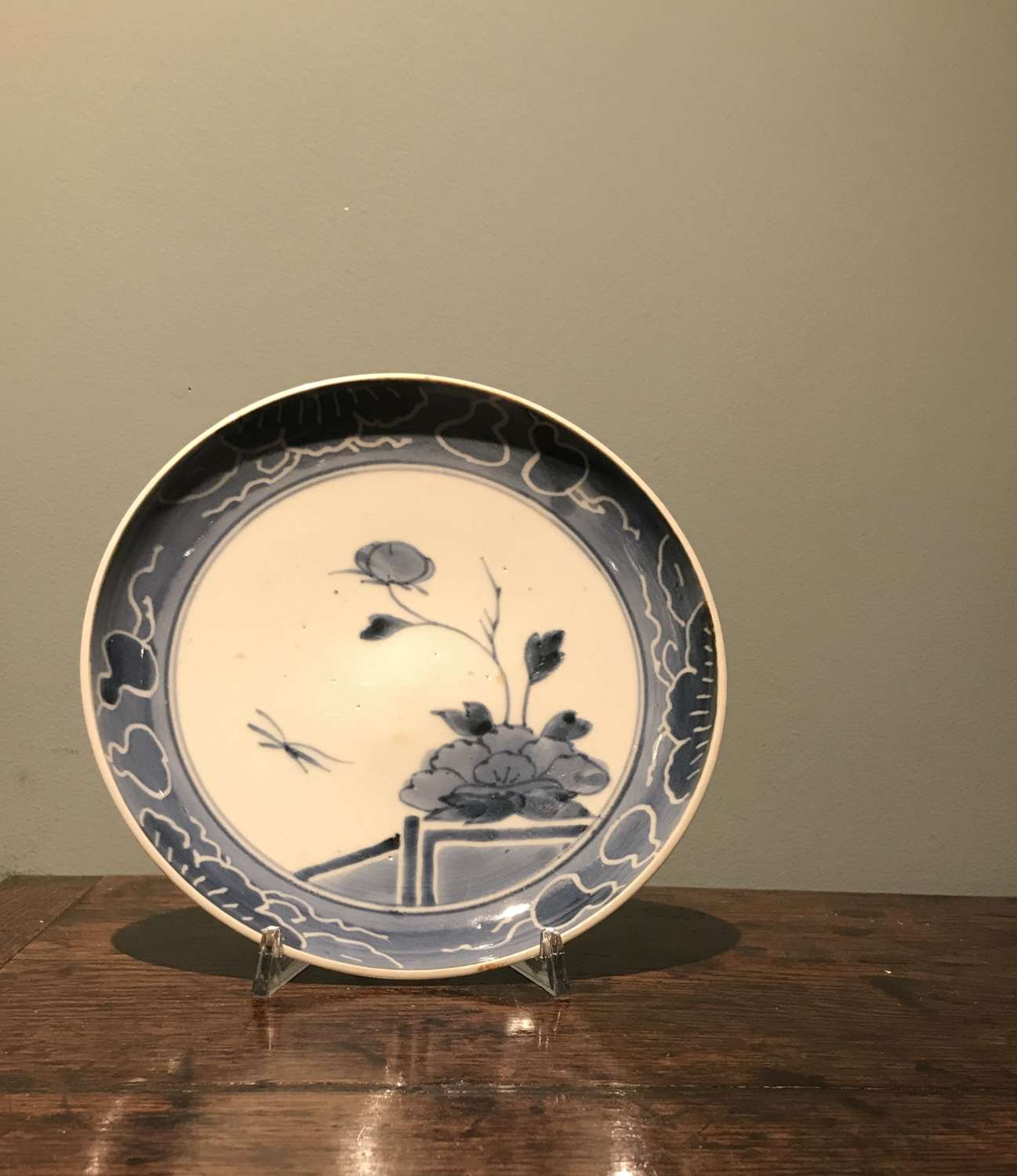 Mid 17th c. Genroku Japanese blue and white plate c. 1660