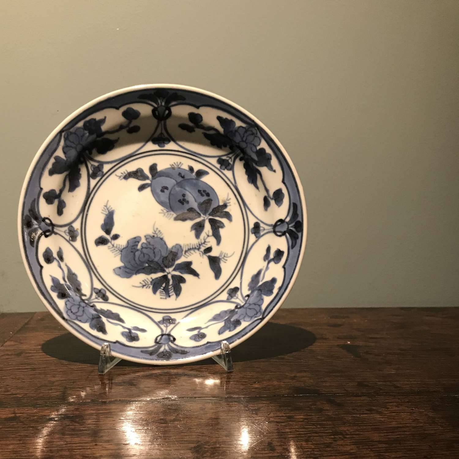 Genroku period Japanese blue and white plate c.1680