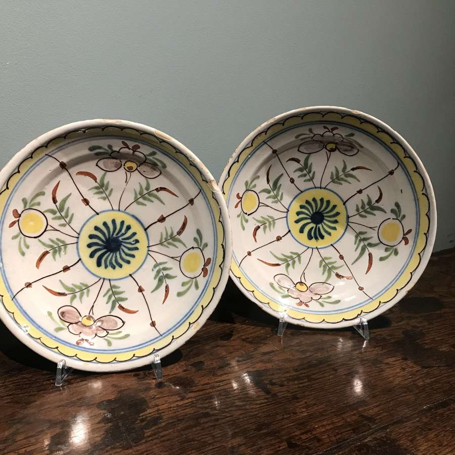Pair of 18th c. Dutch Delft polychrome dishes