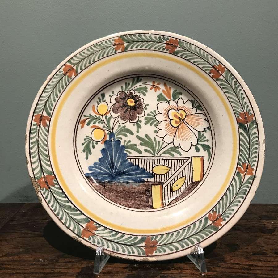 Mid 18th c. Dutch Delft polychrome plate