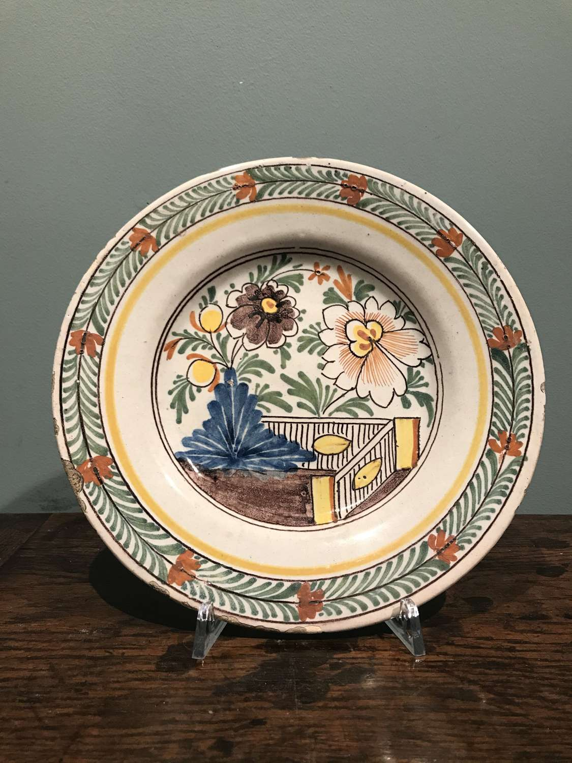 Mid 18th c. Dutch Delft polychrome plate