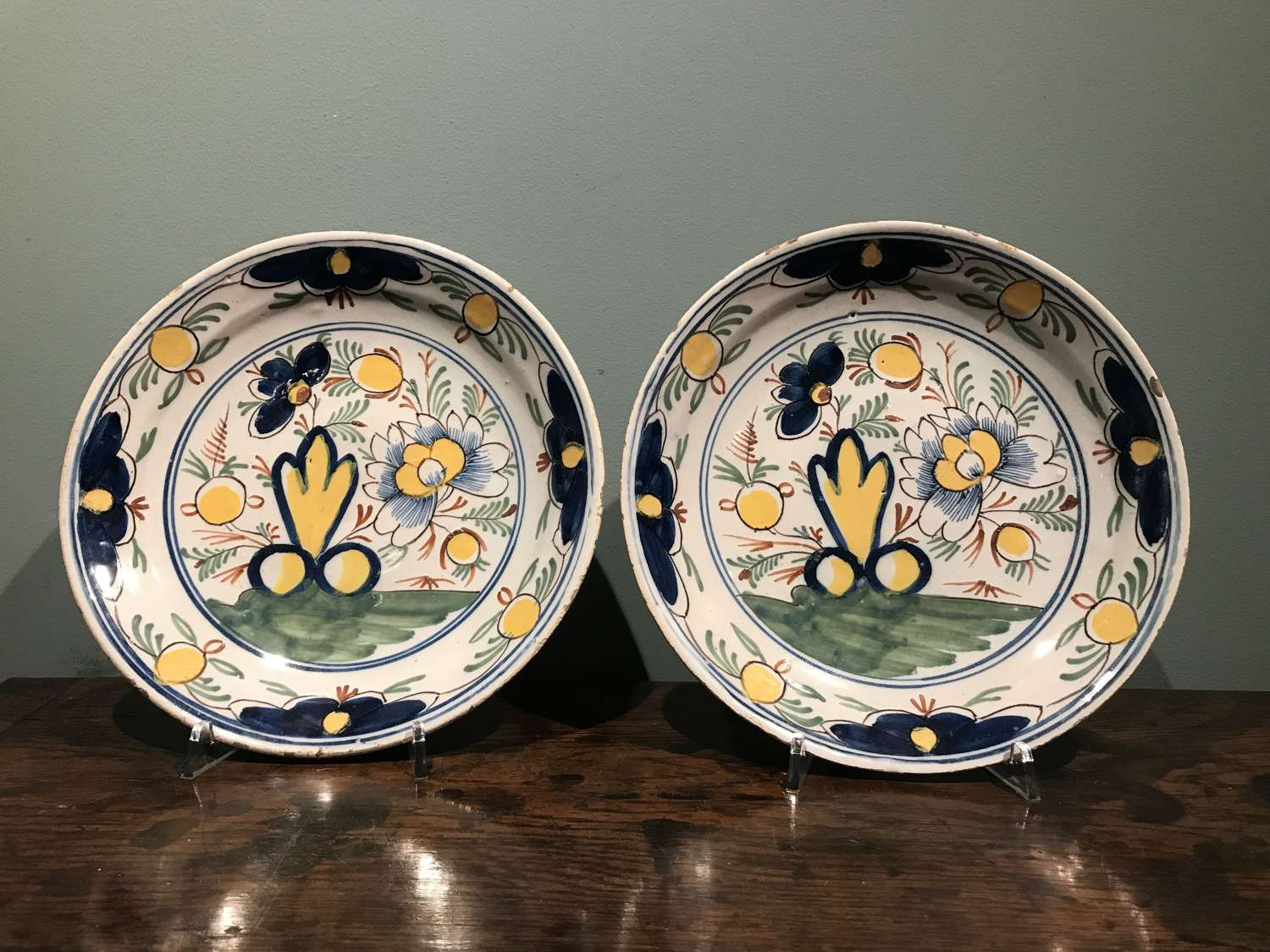 Pair of mid 18th c. Dutch Delft polychrome dishes