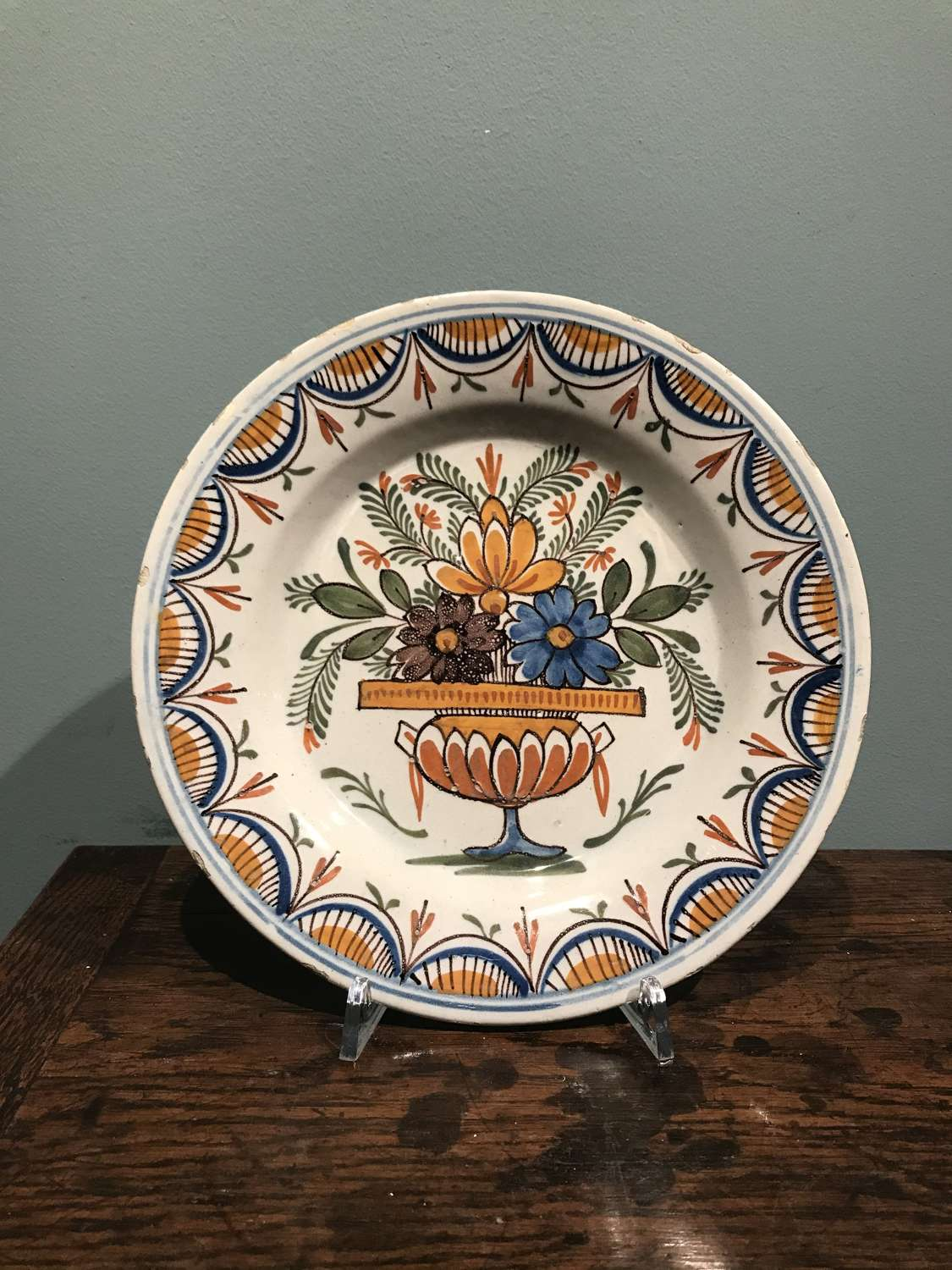 18th c. Dutch Delft Polychrome plate