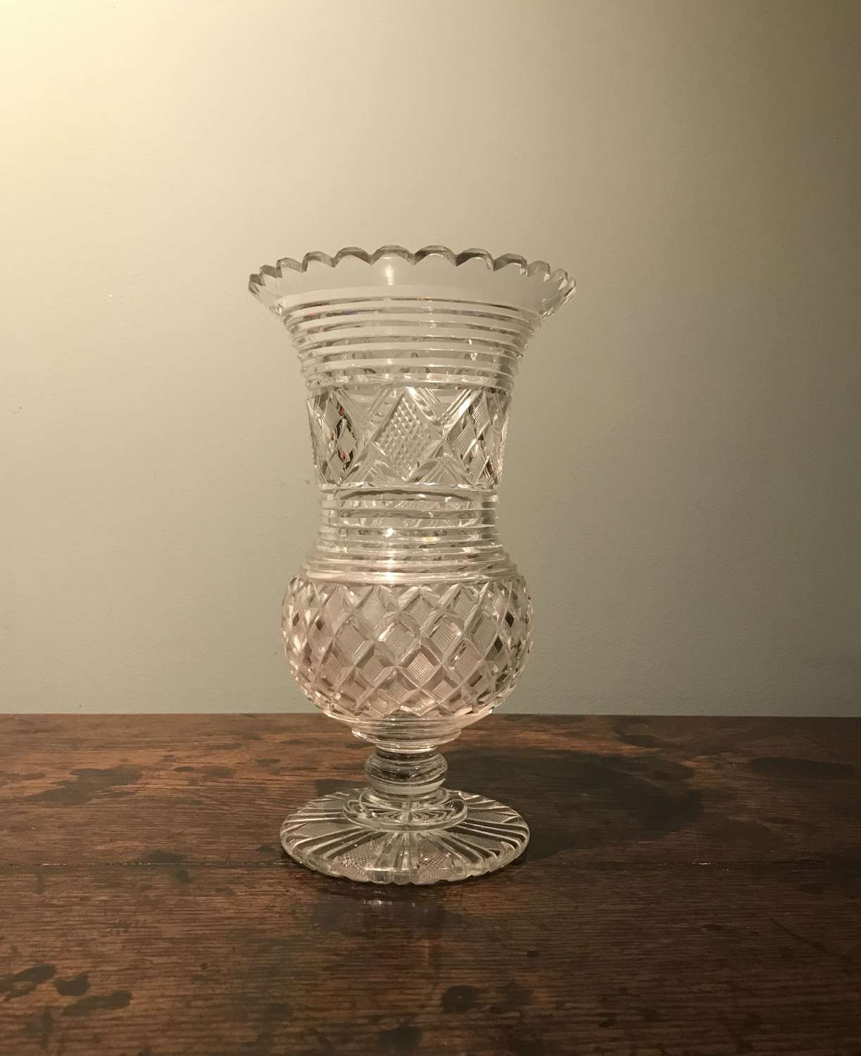REGENCY ANGLO-IRISH CUT GLASS VASE