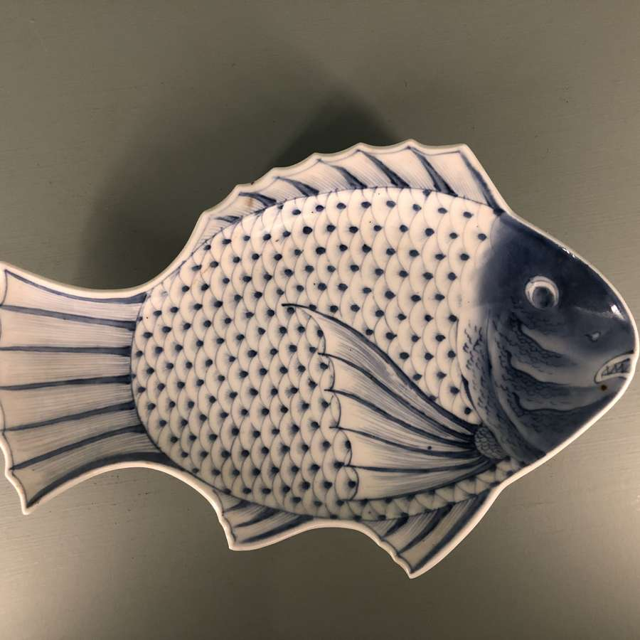 Edo period Japanese blue and white fish serving dish