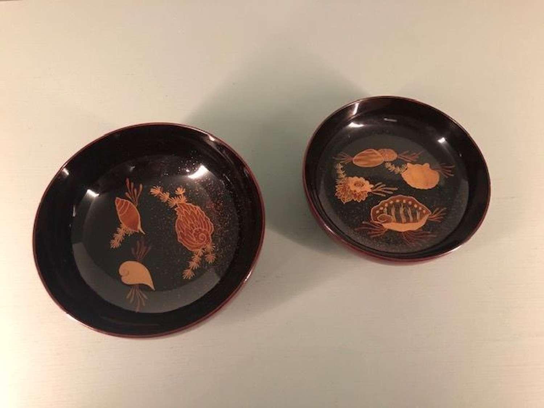 Meiji period Lacquer Chawan with shell motifs