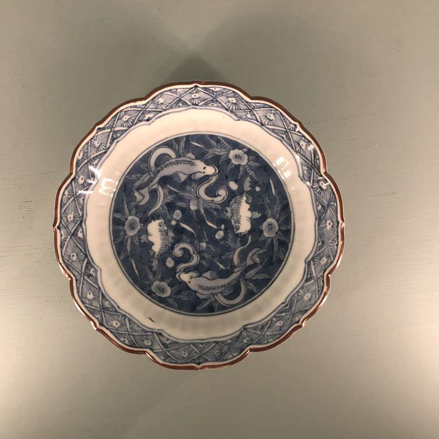 Mid 18th c. Japanese blue and white dish with fish motifs