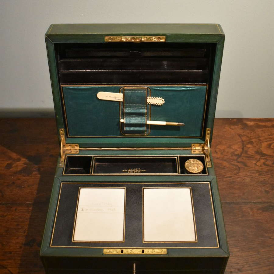19th century Green Leather Writing Box by Miller, Bristol