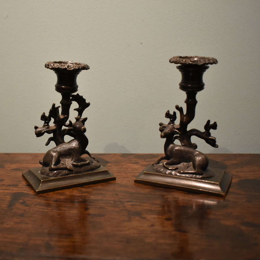 A pair of Regency Bronze Candlesticks