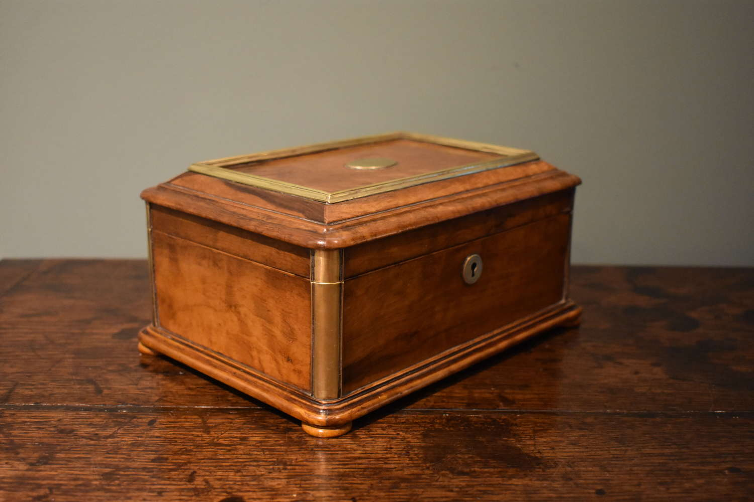 19th c. olive wood box with brass bandings