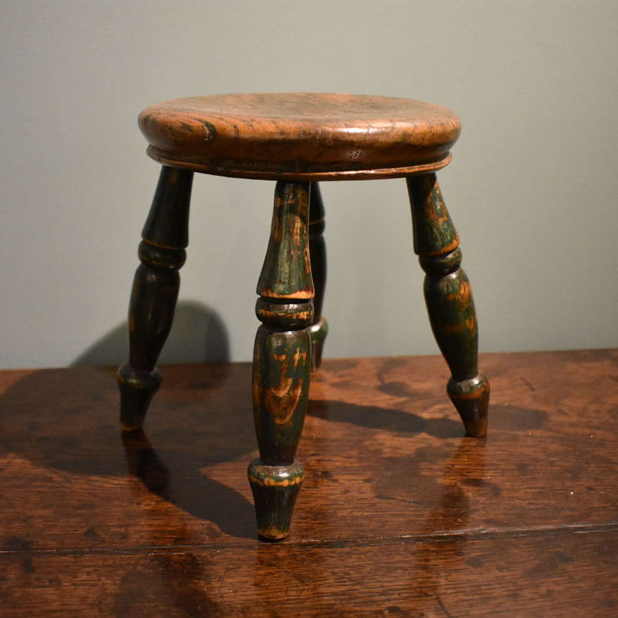 19th c. round stool in elm